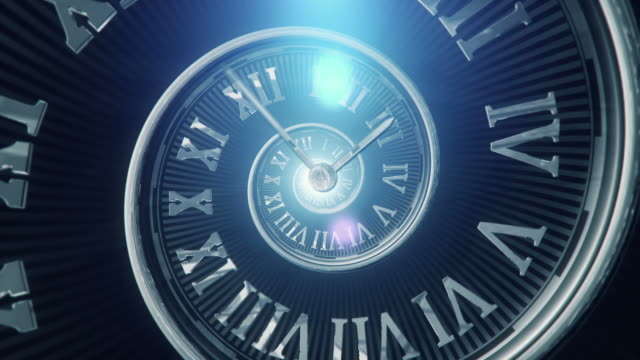 spiral clock (dark, centered) - loop - time stock videos & royalty-free footage