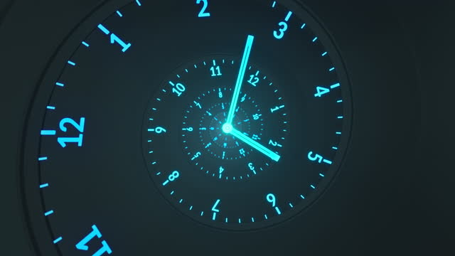 stockvideo's en b-roll-footage met spiral clock - the flow of time - donker, blauw, turquoise - richting