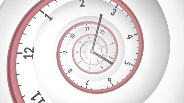 vidéos et rushes de horloge spirale - le flux du temps - rouge, blanc - hypnose