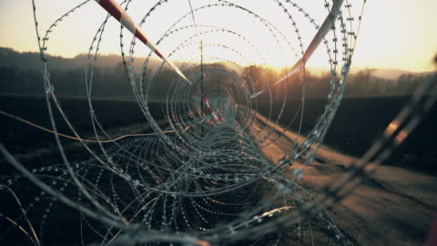 ds spiral coils of concertina wire - crossing stock videos & royalty-free footage