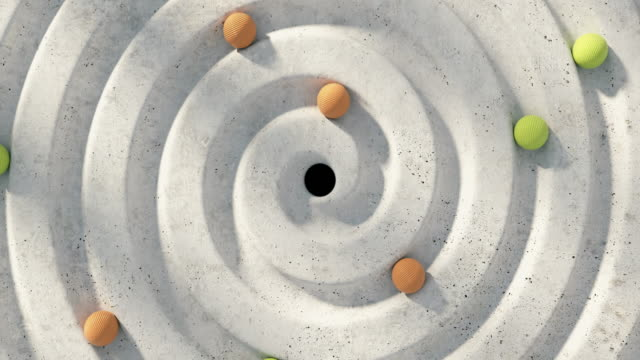 a spiral maze through which ribbed balls rolls - eternity stock videos & royalty-free footage
