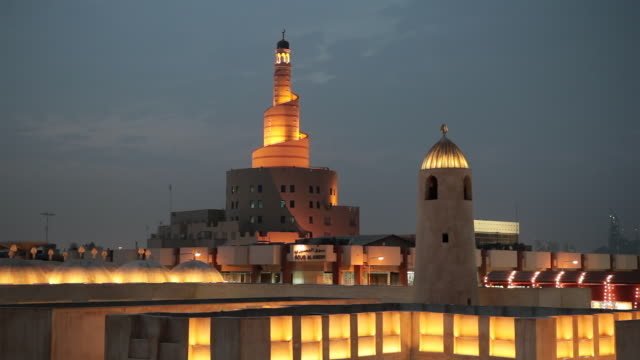 spiral mosque of kassem darwish fakhroo islamic centre of city / doha, qatar - doha stock videos & royalty-free footage