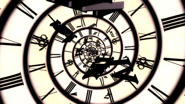 spiral retro clock animation - eternity stock videos & royalty-free footage