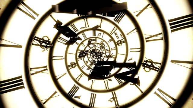spiral retro clock animation - changing clock stock videos and b-roll footage