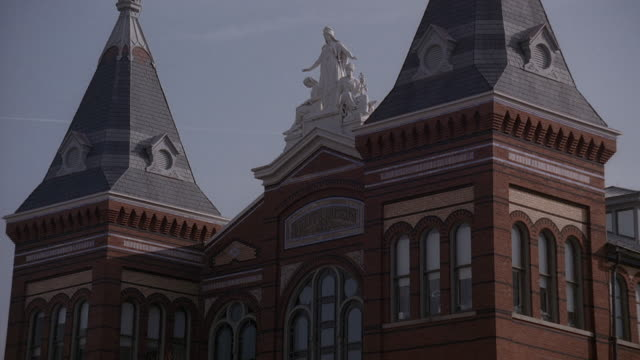 pan spires and cupola of the arts and industries building, smith castle / washington, d.c., united states - the castle stock videos and b-roll footage