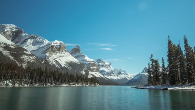 spirit island ,jasper canada - banff national park stock videos & royalty-free footage