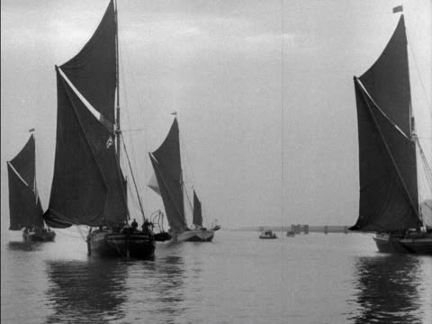 spiritsail barges take part in a coronation sailing competition on the thames - concorso video stock e b–roll