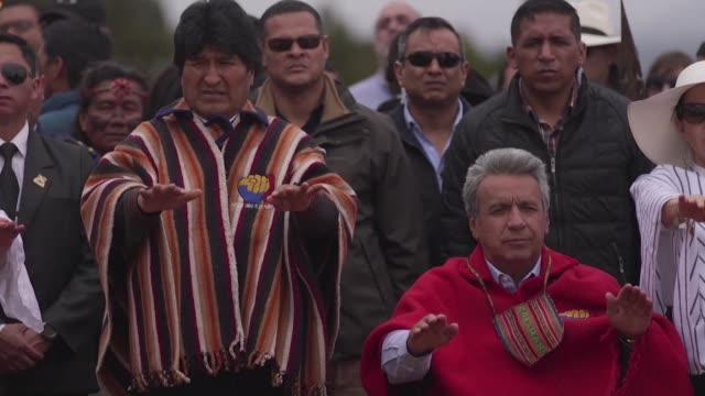 spiritual indigenous leaders handed ecuador's recently inaugurated president lenin moreno a ceremonial staff in a sacred ceremony in the mountainous... - evo morales stock videos & royalty-free footage