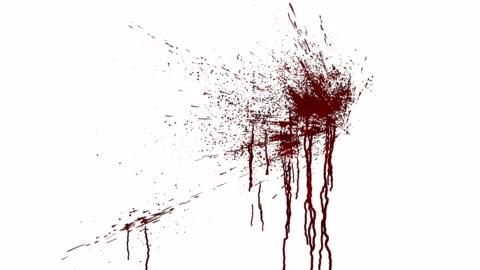 vídeos y material grabado en eventos de stock de salpicaduras de sangre en una pared blanca. animación digital con mate alfa para componer. render 3d. 4k uhd - blood