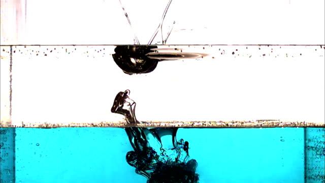 vídeos de stock, filmes e b-roll de splashes, then dilution occurs as a liquid falls into two liquids of different consistency. - tensão de superfície