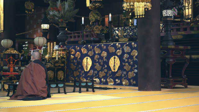 splendid ornaments in japanese temple and a monk - tatami mat stock videos and b-roll footage