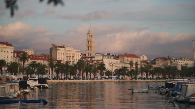 split croatia harbor at sunset - croazia video stock e b–roll