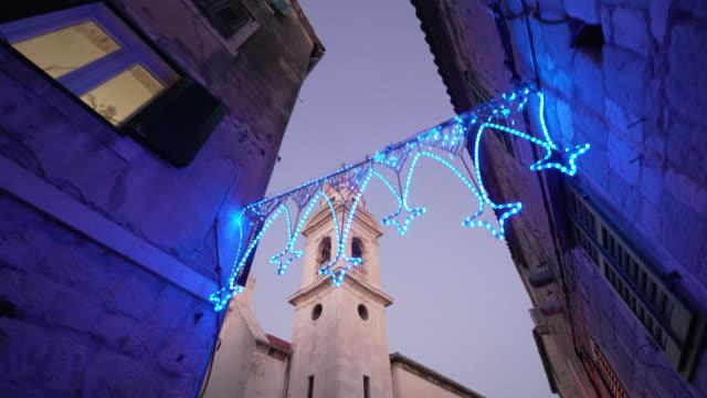 Split Croatia Old Town Diocletian's Palace Christmas Lights Dusk