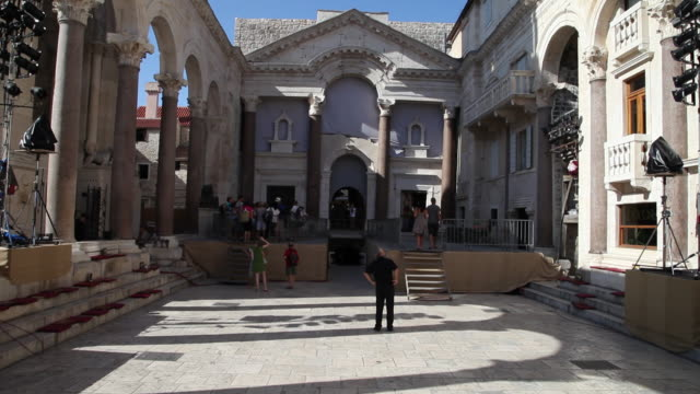 split, plalace of diocletian, view of the peristyle towards the entrance - circa 4th century stock videos & royalty-free footage