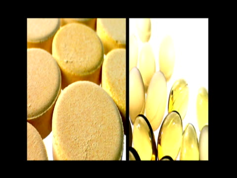 Split screen displaying capsules and pills