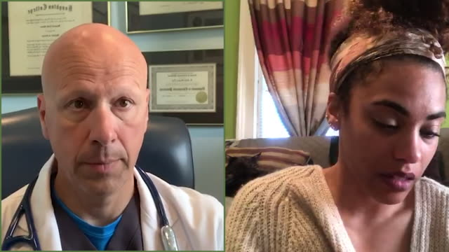 cu split screen of young woman on a video conference with her male doctor - split screen stock videos & royalty-free footage