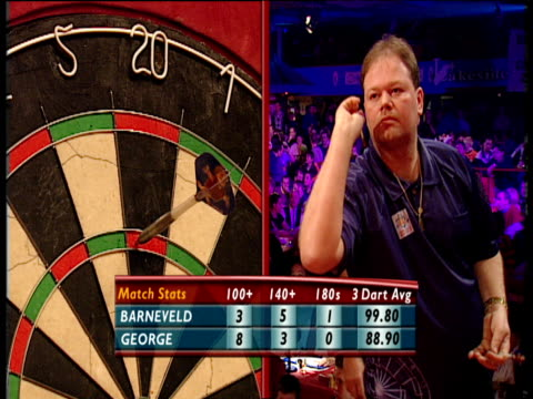 Split screen Raymond van Barneveld scores 180 removes darts 2003 Embassy World Darts Championships Lakeside Frimley Green