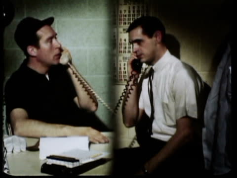 1965 montage ms split screen view of two men in their offices talking on the phone / oxnard, california, usa / audio - split screen stock videos & royalty-free footage