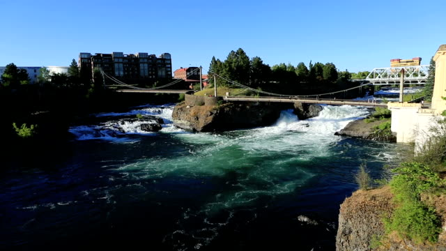 spokane, wa river - stato di washington video stock e b–roll