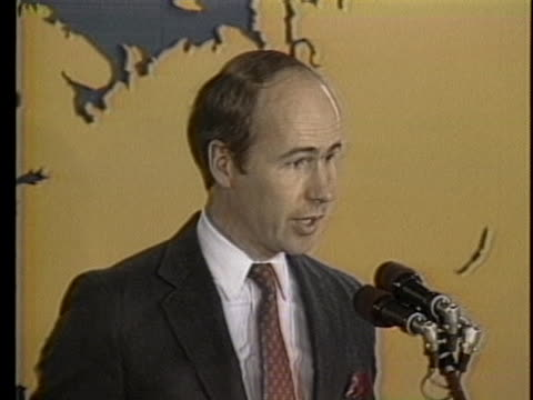 spokesman charles redman says the us state department has notified the west german government that a hijacker of twa flight 847 is wanted in the... - united states and (politics or government) stock-videos und b-roll-filmmaterial