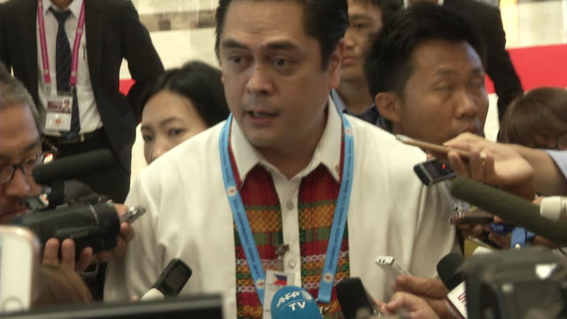 spokesman of rodrigo duterte philippines president speaks to media on the obama whore comments at the association of southeast asian nations summit... - association of southeast asian nations stock videos & royalty-free footage