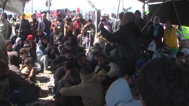 SYRIZA spokesman Sokratis Famellos visits a makeshift camp along the GreeceMacedonia border in Idomeni village Greece on March 26 2016 to cross...