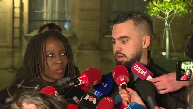 stockvideo's en b-roll-footage met spokesmen for the yellow vest protesters say their meeting with the french environment minister allowed us to open a door to talks after violent... - financieel item
