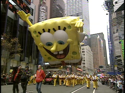 SpongeBob SquarePants parade balloon on Thanksgiving Day parade New York City New York USA