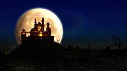 Spooky Castle Halloween background animation 4k