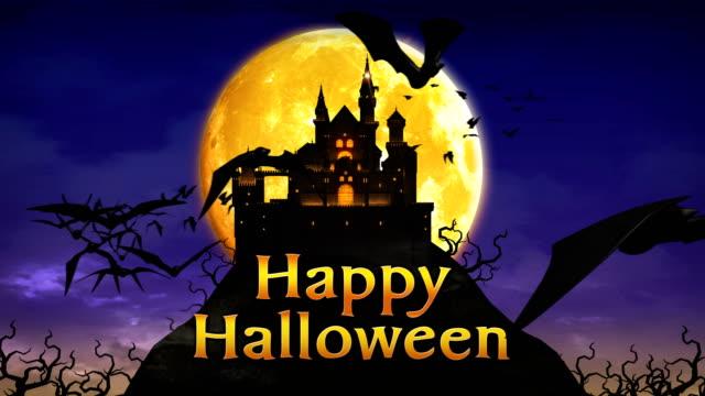 vídeos de stock, filmes e b-roll de castelo fantasma, feliz dia das bruxas, a mansão assombrada, fundo de dia das bruxas assustador 4k. - halloween background