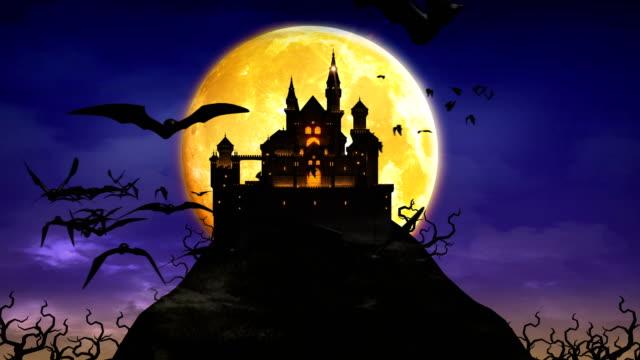 spooky castle, haunted mansion ,creepy halloween background 4k. - halloween stock videos & royalty-free footage