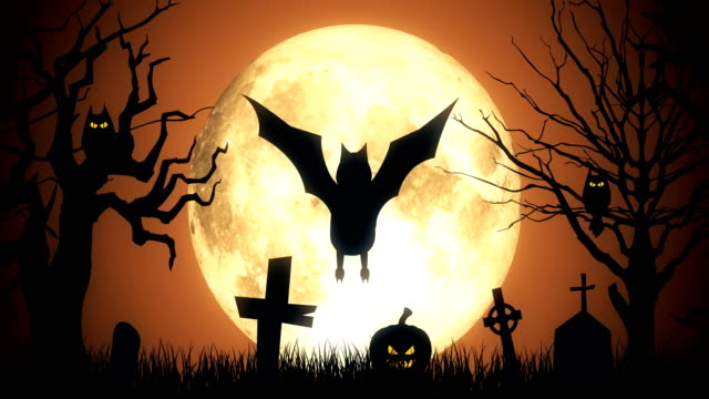 Spooky Halloween Background with Flying Bat 4K Loopable