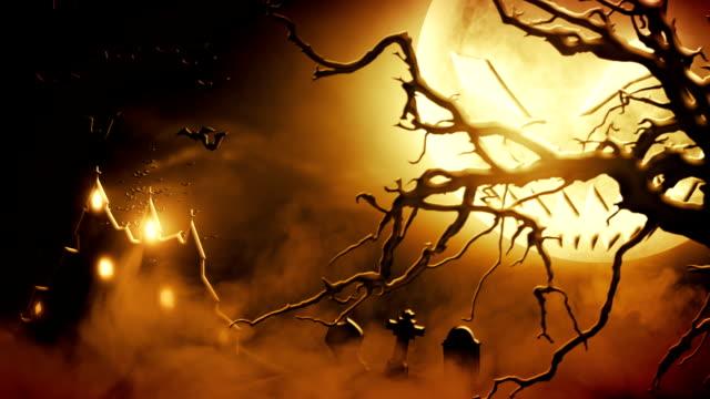 spooky scenery (orange) - loop - castle stock videos & royalty-free footage