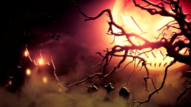 spooky scenery (red) - loop - halloween stock videos & royalty-free footage