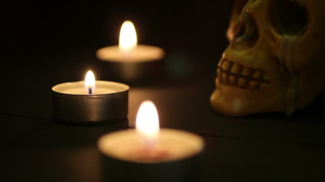 spooky skull on a bier lighted by candles - skeleton sled stock videos and b-roll footage