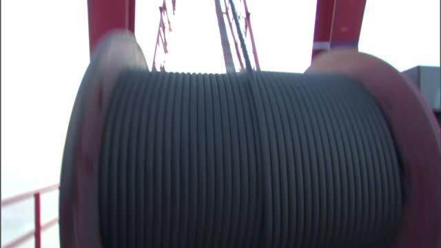 vídeos y material grabado en eventos de stock de a spool spins as it wraps up a cord on a construction site. - bobina