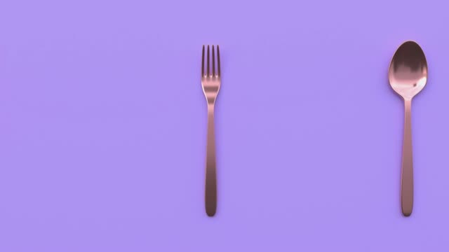 spoon and fork copper/gold metallic violet/purple scene abstract 3d rendering motion - eating utensil stock videos & royalty-free footage