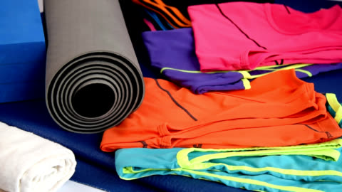 sport equipment on yoga mat / healthy lifestyle conceptual - still life stock videos & royalty-free footage