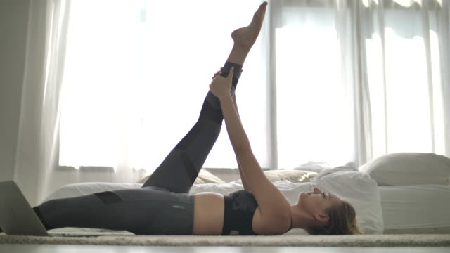 sport woman work out at home - body concern stock videos & royalty-free footage