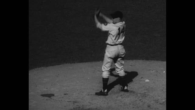 """[sportfolio episode 125] countdown / sportfolio intro sequence / title card: """"place commercial here"""" / cleveland indians pitcher bob feller pitches /... - hitting stock videos & royalty-free footage"""