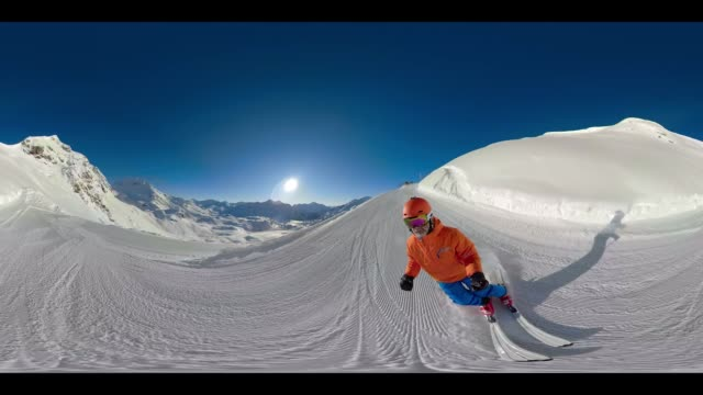 360 VR Sports - 360VR 4K two skiers enjoying skiing on sunny winter day
