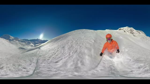 360 VR Sports - 360VR 4k video man skiing in deep snow and on ski piste