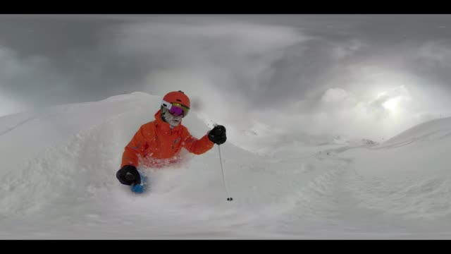 360 vr sports - 360vr 4kvideo man skiing in deep snow - monoscopic image stock videos & royalty-free footage