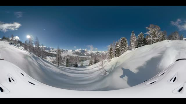 360 vr sports - 360vr off piste skiing 4k video on sunny day - 360 video stock videos & royalty-free footage