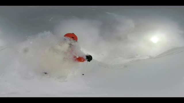 360 VR Sports - 360VR powder snow skiing 4K video