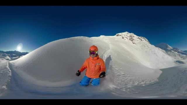 360 VR Sports - 360VR sunshine deep snow skiing 4K video