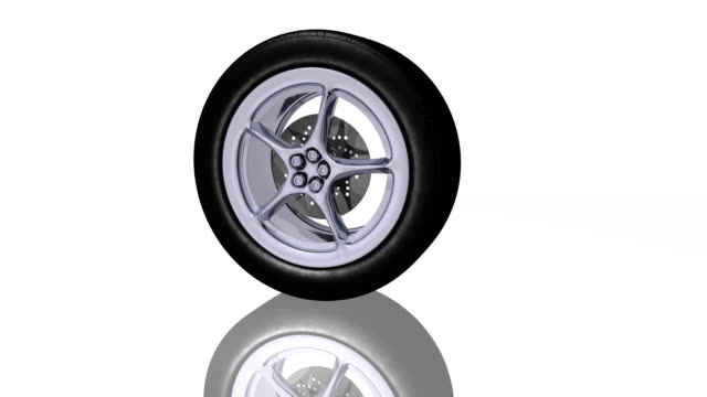 Sports car tire rolling