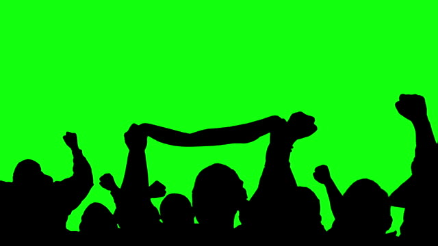 stockvideo's en b-roll-footage met sports crowd, fans, supporters silhouettes cheering on green screen - toeschouwer