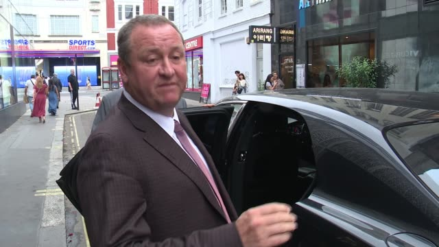 sports direct annual results finally published england london ext mike ashley doorstep interview as from building to car sot are you worried about... - waiting stock videos & royalty-free footage