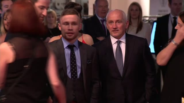 sports personality of the year 2015 red carpet; ap mccoy and wife chanelle mccoy on red carpet / barry mcguigan and carl frampton and wives on red... - wife stock videos & royalty-free footage